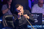 Mark Selby makes a few running repairs on his way to taking the 2019 Title at the World Snooker 19.com Scottish Open Final Mark Selby vs Jack Lisowski at the Emirates Arena, Glasgow, Scotland on 15 December 2019.