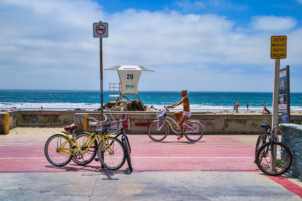 Cycling on the Boardwalk, Mission Beach
