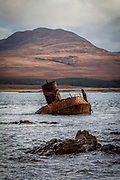A view of the wrecked Wyre Majestic in the Sound of Islay near Bunnahabhain