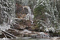 Virginia Falls, Autumn snow at Glacier National Park