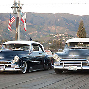 Antique Chevrolet cars on the pier at Santa Barbara, CA.