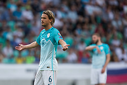 Rene Krhin of Slovenia reacts during football match between National teams of Slovenia and Malta in Round #6 of FIFA World Cup Russia 2018 qualifications in Group F, on June 10, 2017 in SRC Stozice, Ljubljana, Slovenia. Photo by Vid Ponikvar / Sportida