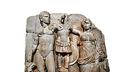 Close up of Roman Sebasteion relief sculpture of emperor Augustus and Goddess Victory, Aphrodisias Museum, Aphrodisias, Turkey.   Against a white background.<br /> <br /> The naked emperor Augustus stands in majesty with the winged goddess Victory(Nike). He carried a spear and has an eagle, the bird representing Zeus, at his feet. Victory is crowning a military trophy - a rough post with enemy armour attached to it. Beneath the trophy is a barbarian captive, his hands tied behind his back. .<br /> <br /> If you prefer to buy from our ALAMY STOCK LIBRARY page at https://www.alamy.com/portfolio/paul-williams-funkystock/greco-roman-sculptures.html . Type -    Aphrodisias     - into LOWER SEARCH WITHIN GALLERY box - Refine search by adding a subject, place, background colour, museum etc.<br /> <br /> Visit our ROMAN WORLD PHOTO COLLECTIONS for more photos to download or buy as wall art prints https://funkystock.photoshelter.com/gallery-collection/The-Romans-Art-Artefacts-Antiquities-Historic-Sites-Pictures-Images/C0000r2uLJJo9_s0