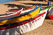 Colorful yolas along Crash Boat beach Aguadilla Puerto Rico