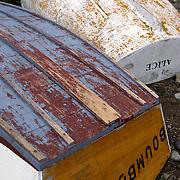 Overturned rowboats on Monhegan Island