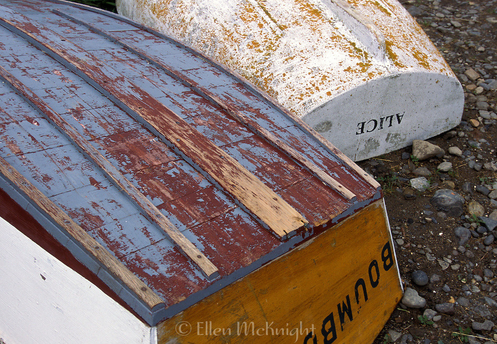 Overturned rowboats on Monhegan Island