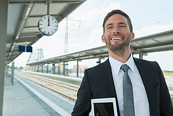 Portrait of business man at platform