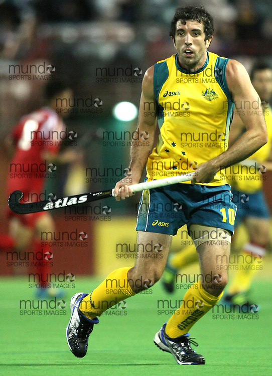 (Canberra, Australia---29 March 2012) Russell Ford of the Australia Kookaburra national field hockey team playing in the first of a three game test series against Japan. 2012 Copyright Photograph Sean Burges / Mundo Sport Images.
