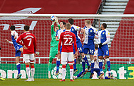 Blackburn Rovers goalkeeper Thomas Kaminski (1) saves from a free kick during the EFL Sky Bet Championship match between Middlesbrough and Blackburn Rovers at the Riverside Stadium, Middlesbrough, England on 24 January 2021.