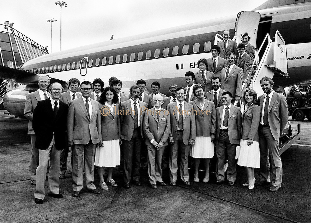 Olympian ambition: part of the Irish team, with their Chef de Mission and officials, leaving Dublin Airport bound for the Olympic games in Moscow.<br /> 14 July 1980