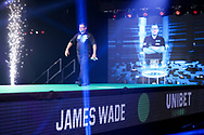 James Wade enters the arena during the Premier League Darts at Marshall Arena, Milton Keynes, United Kingdom on 5 April 2021.