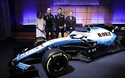 Unveiling of the new livery FW42 with Williams Formula One deputy team principal Claire Williams (left), drivers George Russell and Robert Kubica, with chairman of Rok Jonathan Kendrick (right) during the Williams 2019 livery launch at Williams Conference Centre, Grove.