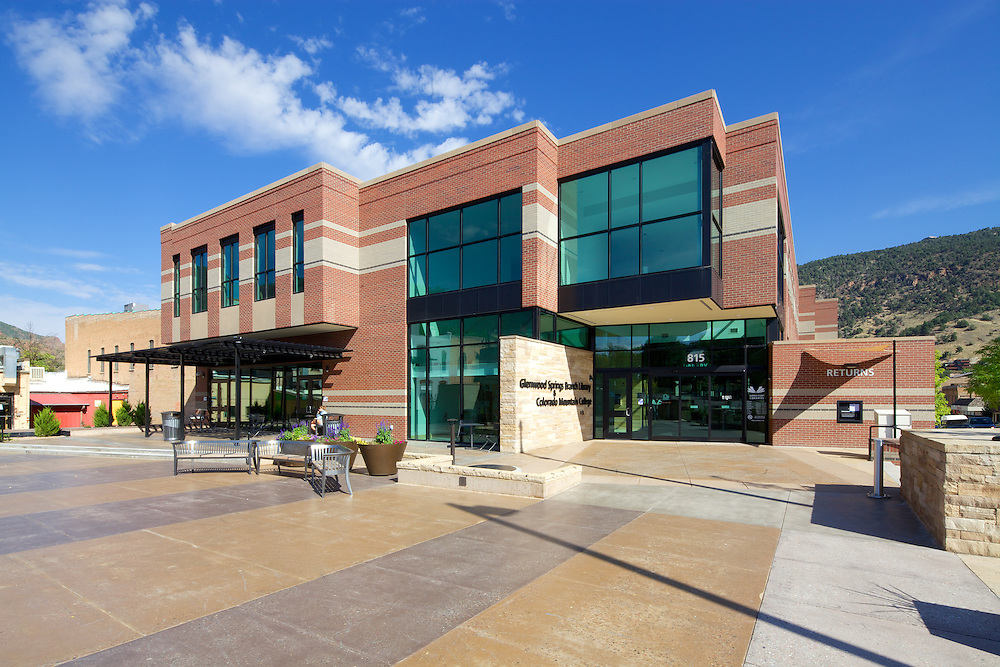 The Glenwood Springs Branch Library, in Glenwood Springs, Colorado. Designed by Humphries Poli Architects, I wanted to illustrate how the building fits into the urban fabric of the town.