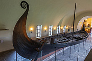 Restored Viking ship from the Viking ship museum in Oslo, Norway. <br /> <br /> https://www.khm.uio.no/english/visit-us/viking-ship-museum/