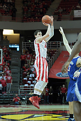 01 February 2014: Nick Zeisloft shoots the three during an NCAA Missouri Valley Conference (MVC) mens basketball game between the Drake Bulldogs and the Illinois State Redbirds  in Redbird Arena, Normal IL.
