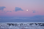 The moon and a dusk sky over a snow covered Burbage Rocks, Peak District.