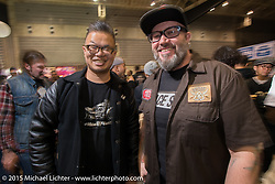 Roughcraft's Winston Yeh and BMW Motorrad's Creative Director Ola Stenegard of BMW at the pre-party for the Mooneyes Yokohama Hot Rod & Custom Show. Yokohama, Japan. December 5, 2015.  Photography ©2015 Michael Lichter.