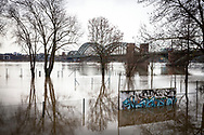 flood of the Rhine on February 5th. 2021, flooded tennis courts and trees in the water in the district Poll, South bridge, Cologne, Germany.<br /> <br /> Hochwasser des Rhein am 5. Februar 2021, ueberflutete Tennisplaetze und Baeume im Wasser, Rheinufer in Poll, Suedbruecke, Koeln, Deutschland.