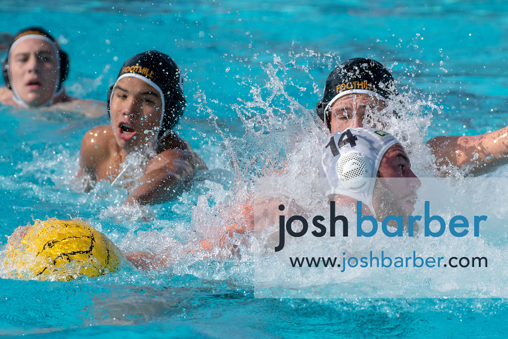 Mira Costa's Clayton Allen is fouled by Foothill's Jakob Tallman during the CIF-SS Division 2 Final at William Woollett Jr. Aquatic Center on Saturday, November 10, 2018 in Irvine, Calif. (Photo by Josh Barber, Contributing Photographer)