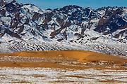 Snowy landscape of Mongolia's Gobi Desert, Gobi Desert, Mongolia