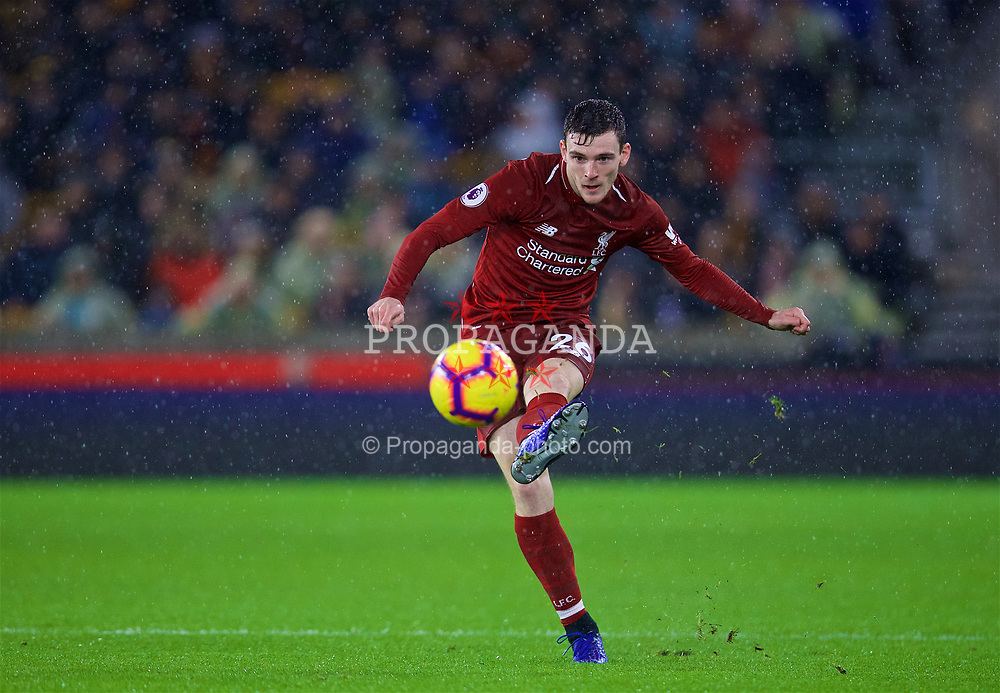 WOLVERHAMPTON, ENGLAND - Friday, December 21, 2018: Liverpool's Andy Robertson during the FA Premier League match between Wolverhampton Wanderers FC and Liverpool FC at Molineux Stadium. (Pic by David Rawcliffe/Propaganda)