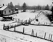 0001-E202 Fence & Snow on hill, Steinhoff family farm, on 99W just south of Aurora, Ore.  January 1954.
