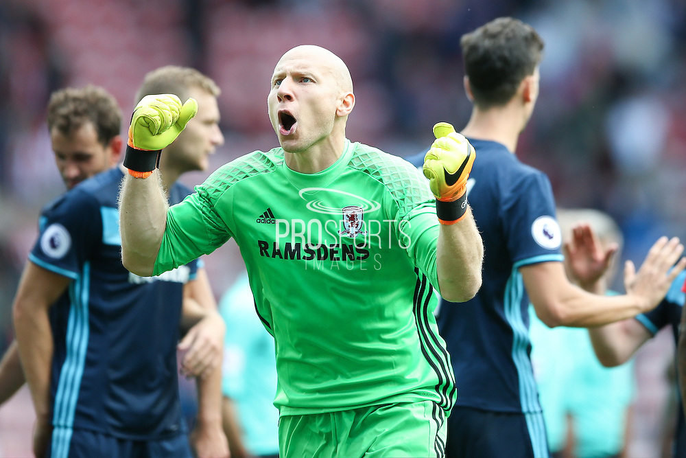 Middlesbrough goalkeeper Brad Guzan (12)  celebrates the victory after the final whistle during the Premier League match between Sunderland and Middlesbrough at the Stadium Of Light, Sunderland, England on 21 August 2016. Photo by Simon Davies.