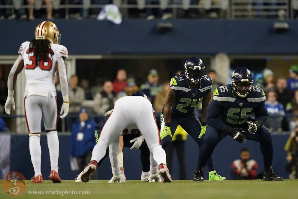 December 29, 2019; Seattle, Washington, USA; Seattle Seahawks running back Marshawn Lynch (24) lines up against the San Francisco 49ers during the second quarter at CenturyLink Field.