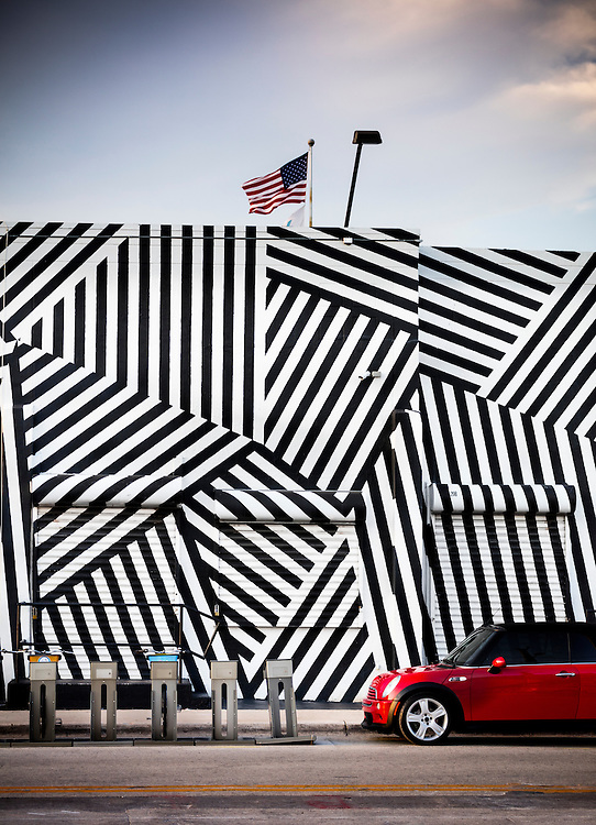 The landmark, black and white striped  Wynwood Building in Miami