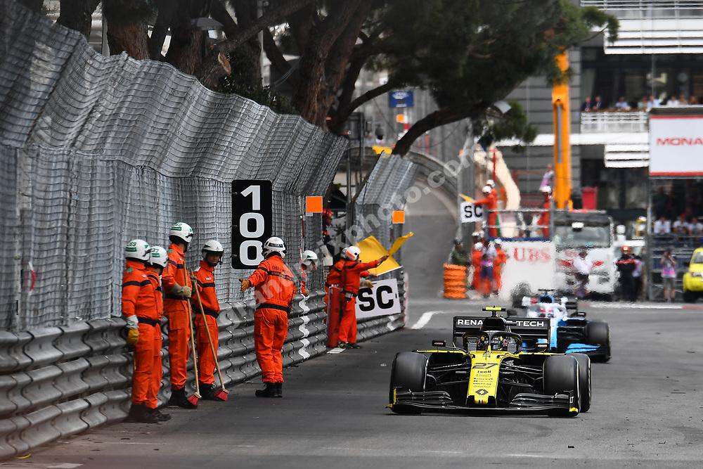 Nico Hülkenberg (Rrnault) passes marshals on the track during the 2019 Monaco Grand Prix. Photo: Grand Prix Photo