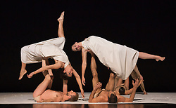 """© Licensed to London News Pictures. 27/09/2012. London, England. UK Premiere of Berlin-based dance company Sasha Waltz & Guests of """"Continu"""" at the Sadler's Wells Theatre, London. Developed with 24 dancers, at the core of Continu is Arcana, a dramatic symphonic work composed in 1927 by Edgar Varèse, a composer who was renowned for combining artistic and scientific content. Continu features the modern costume design by Bernd Skodzig, scenography by Thomas Schenk and Pia Maier Schriever, lighting by Martin Hauk, additional music by Iannis Xenakis and Claude Vivier. The performance was directed and created by Sasha Waltz. Photo credit: Bettina Strenske/LNP"""