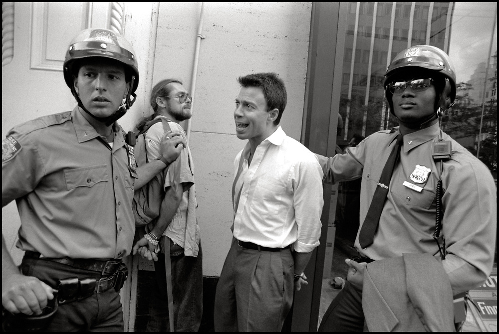 Bob Rafsky and Charles King are arrested as the ACT UP Housing Committee demonstrates at the NYC Housing Authority to protest discrimination against PWAs, survivors of PWAs who are not legal tenants, lesbians and gays. June 13, 1990