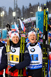 March 16, 2019 - –Stersund, Sweden - 190316 Tarjei Bø of Norway and Johannes Thingnes Bø of Norway celebrate after the Men's 4x7,5 km Relay during the IBU World Championships Biathlon on March 16, 2019 in Östersund..Photo: Petter Arvidson / BILDBYRÃ…N / kod PA / 92269 (Credit Image: © Petter Arvidson/Bildbyran via ZUMA Press)