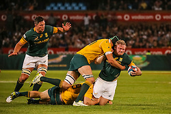 Adriaan Strauss of SA is tackled by Scott Fardy and Tom Robertson during the Castle Lager Rugby Championship test match between South Africa and Australia held at Loftus Versfeld stadium in Pretoria on the 1st October 2016<br /> <br /> Photo by: Dominic Barnardt/ RealTime Images
