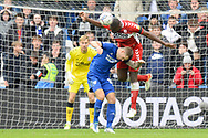 Souleymane Bamba (22) of Middlesbrough battles for possession with James Collins (19) of Cardiff City during the EFL Sky Bet Championship match between Cardiff City and Middlesbrough at the Cardiff City Stadium, Cardiff, Wales on 23 October 2021.