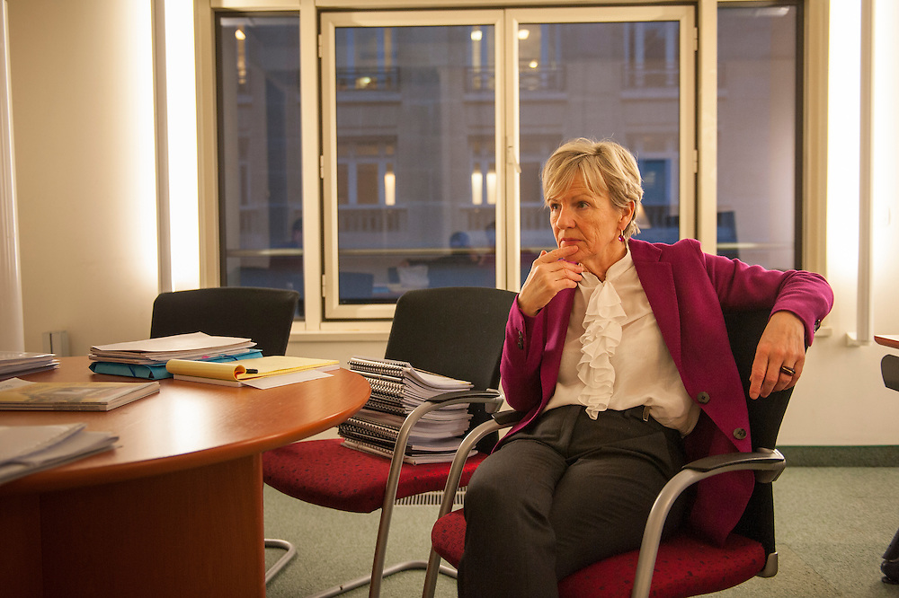 """8 March 2014, Paris, France. Prosecutor Eliane Houlette (64), appointed in 2014 at the head of the national financial court, in charge of the Fillon case, in her office. This national financial prosecutor fights against economic and financial delinquency, she is in charge of the Affaire Fillon, known as """"Penelope gate"""", and also dealt with the affaire Cahuzac.<br /> <br /> 8 mars 2014, Paris, France.  La procureur Eliane Houlette (64 ans), nommée en 2014 à la tête du parquet national financier, chargé de l'affaire Fillon, dans ses bureaux. Cette procureur financier national lutte contre la délinquance économique et financière, elle est en charge de l'affaire Fillon, dite """"Penelope gate"""", et s'est aussi occupé de l'affaire Cahuzac."""