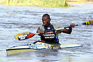 DUSI RIVER - 19 January 2006 - Michael Mbanjwa on day two of the 57th edition of the annual Dusi Canoe Marathon between Pietermaritzburg and Durban. Mbanjwa dropped to sixth position on day two from the overnight lead he had held at the end of day one..Picture: Giordano Stolley / Allied Picture Press