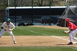 21 April 2007: Casey McIntosh takes a lead from 1st base and Chris Sajdak. Carthage College loses the first game of a double header by a score of 5-2 against the Illinois Wesleyan Titans.