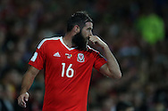 Joe Ledley of Wales looks on. Wales v Moldova , FIFA World Cup qualifier at the Cardiff city Stadium in Cardiff on Monday 5th Sept 2016. pic by Andrew Orchard, Andrew Orchard sports photography