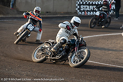 Mack (Masahiro Okinawa) flat track racing in the Okie Dokie Vintage Races put on by Go Takamine's Brat Style at West Point Off-Road Village, Kawagoe, Saitama, Japan. Tuesday, December 4, 2018. Photography ©2018 Michael Lichter.