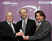Tom Colfor chairman of Westmeath Citizen Information Centre receive their award from Tony McQuinn chief executive CIB and Matt Fisher COO, EFQM at the EFQM Ireland Excellence Awards ceremony in association with Fáilte Ireland and the Centre for Competitiveness at the Galway Bay Hotel on Friday night. Photo:- Andrew Downes Photography / No Fee