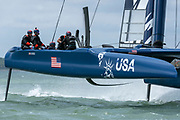 SailGP Team USA helmed by Rome Kirby practising on the Solent. Event 4 Season 1 SailGP event in Cowes, Isle of Wight, England, United Kingdom. 6 August 2019: Photo Chris Cameron for SailGP. Handout image supplied by SailGP