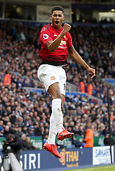 Manchester United's Marcus Rashford celebrates after she scores to put his side 1-0 up
