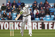 Tom Kohler-Cadmore of Yorkshire plays an attacking shot  during the opening day of the Specsavers County Champ Div 1 match between Yorkshire County Cricket Club and Hampshire County Cricket Club at Headingley Stadium, Headingley, United Kingdom on 27 May 2019.