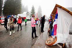 Fans of biathlon before Man 15km mass start of the e.on IBU Biathlon World Cup on Sunday, December 16, 2012 in Pokljuka, Slovenia. The third e.on IBU World Cup stage is taking place in Rudno polje - Pokljuka, Slovenia until Sunday December 16, 2012. (photo by Urban Urbanc / Sportida.com)