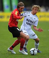 Fotball NM Cup Stjørdalsblink - Rosenborg<br /> Øverlands Minde, Stjørdal 13 mai 2010<br /> <br /> Tor Helge Johansen, Stj.Blink og Per Ciljan Skjelbred, Rosenborg i duell<br /> <br /> Foto : Arve Johnsen, Digitalsport
