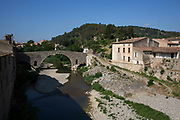 Scene in the medieval village of Lagrasse, Languedoc-Roussillon, France. It lies in the valley of the River Orbieu.