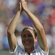 ORLANDO, FL - OCTOBER 25: Abby Wambach #20 of USWNT looks toward her fans during a women's international friendly soccer match between Brazil and the United States at the Orlando Citrus Bowl on October 25, 2015 in Orlando, Florida. (Photo by Alex Menendez/Getty Images) *** Local Caption *** Abby Wambach