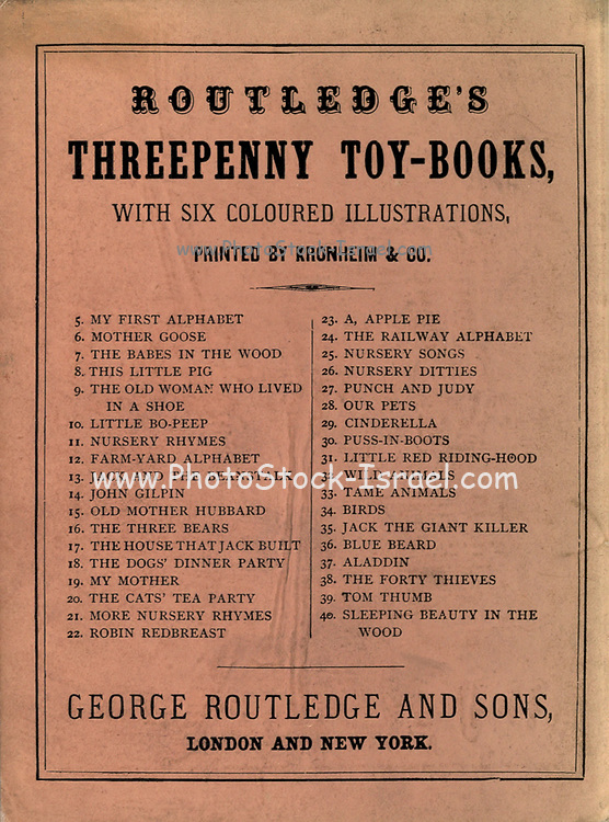 Advertising Routledge's Shilling Toy Books with large illustrations on the back cover Illustrated Little Bo-Peep Published by George Routledge and sons in 1865