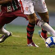 Players challenge for the ball during the Flamengo V Fluminense, Futebol Brasileirao  League match at Estadio Olímpico Joao Havelange, Rio de Janeiro, The classic Rio derby match ended in a 3-3 draw. Rio de Janeiro,  Brazil. 19th September 2010. Photo Tim Clayton.
